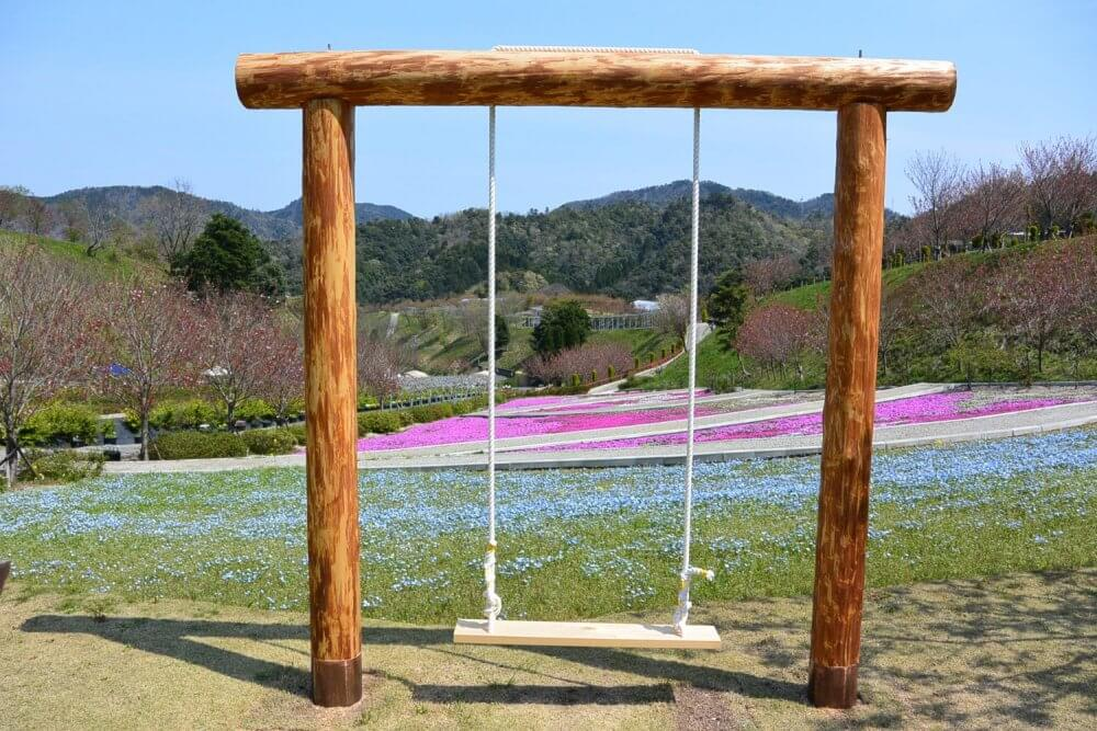 A swing stood above a hill of blue pink and white flowers